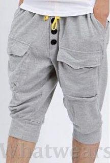 Mens Casual Harem Capri Pants Pocket Button Designed 4 Size Light Gray