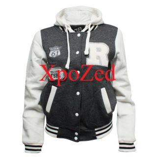 NEW WOMENS VARSITY BOMBER LADIES BASEBALL JACKET HOODIE ORLANDO FSBL