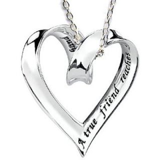 Gift Best Friend Sliding Ribbon Heart Charm Silver 925 Friendship