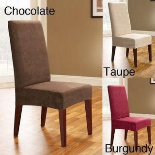 Smooth Suede Shorty Dining Room Chair Covers (Set of 2)