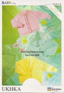 Hand Knitting Pattern 4 ply Baby Toddler Children Cardigans UKHKA4