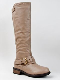 NEW QUPID Women Basic Casual Knee High Buckle Riding Boot beige sz
