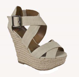 Delicious Criss Cross Platform Espadrille Wedge Sandal Natural Linen