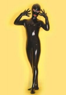 Full Body Spandex With Latex Cat Suit Eyes and Mouth Open H491B