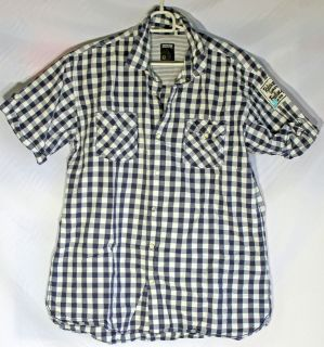 Smog Mens Casual White Blue Geometric Navy Shirt Size L Small defect