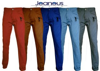 MENS ZICO CHINO TWILL TURN UP JEANS RED SAND GREY ROYAL & SKY BLUE