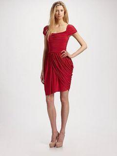 NEW* BCBG Mikaela Rio Red Shirred Jersey Dress L $268 ACJ6O123