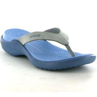 Crocs Flip Flops Beach Sandals Genuine Capri IV Womens Shoes Silver