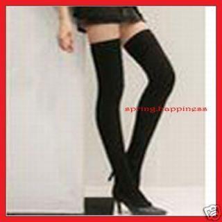 FASHION SEXY BLACK KNIT CROCHET THIGH KNEE HIGH SOCKS LEGGING
