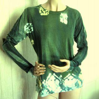 Forest Green Bleach Spot Tie Dye Long Sleeve T Shirt Top 3/L NWT