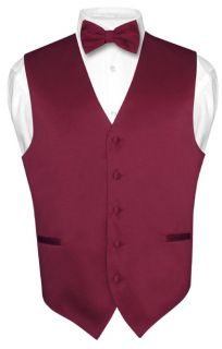 Mens BURGUNDY Dress Vest BOWTie Set for Suit or Tuxedo