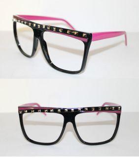 Rock LMFAO Flat Top Large Frame Nerd No Lens Glasses Geek Pink Black