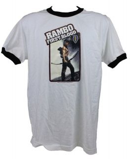 Rambo First Blood Sylvester Stallone Mens Ringer T Shirt New