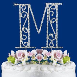 ROMAN STYLE CRYSTAL WEDDING CAKE TOP MONOGRAM LETTER M