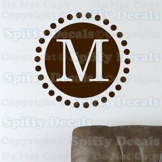 PERSONALIZED CUSTOM CIRCLE INITIAL MONOGRAM Lettering Vinyl Wall Decal
