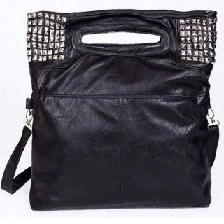 Lady Woman Shoulder Bag Messenger Handbag Bags Silver Studs Studed