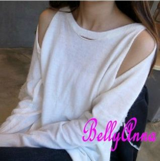 Women Ladies Sexy Cut Out Shoulder Loose Baggy Sweater Knit Jumper Top