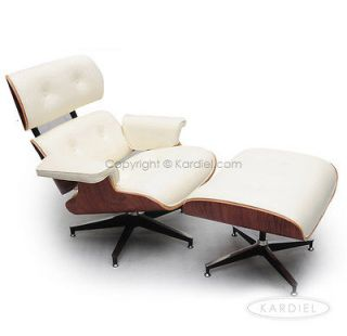 LOUNGE CHAIR & OTTOMAN WHITE GENUINE LEATHER Palisander Plywood