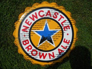 NEWCASTLE BROWN ALE BEER SIGN BOTTLE CAP TIN METAL 20 NEW MINT
