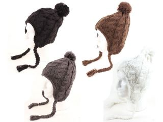 Womens Trapper Knit Winter Ear Flap Hat P212 Choice Of 4 Colors