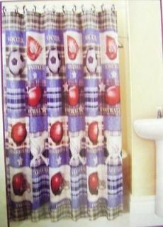PRINTED FABRIC SHOWER CURTAIN BASEBALL FOOTBALL SOCCER GAME HELMET 70