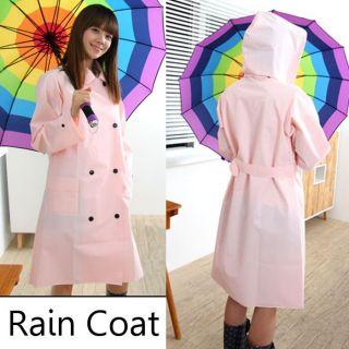 Trench Rain Coat with belt Pink]Womens Hooded Jacket Girl Waterproof
