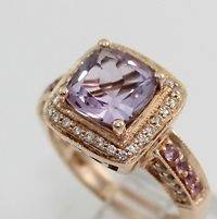 LeVian 14K Rose Gold Purple Amethyst Pink Sapphire Diamond Ring Size 7