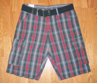 Levis Squadron Plaid Belted Cargo Shorts Free Shipping 604 0004