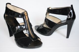 Womens Shoes NIB Michael Kors BERKLEY T Strap Gladiator Heels SEQUIN