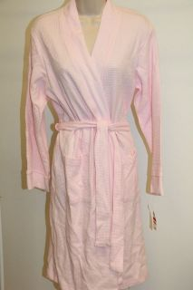 NWT Charter Club bath robe Pale Pink size L 100% Cotton Waffle Robe