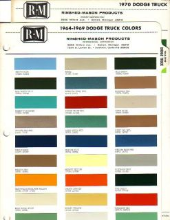 1964 1965 1966 1967 1968 1969 1970 DODGE TRUCK PAINT CHIPS