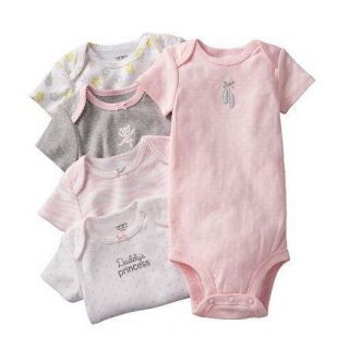 NWT Carters Baby Girl Clothes 5 Bodysuits Pink Gray Print 3 6 9 12 18