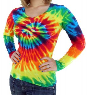Ladies V Neck Tie Dye Long Sleeve Rainbow Spiral Fitted T Shirt