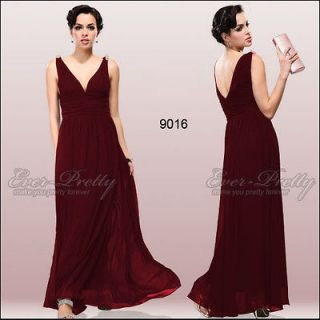 Elegant V neck Long Reds Chiffon Crystal Maxi Bridesmaid Dress 09016