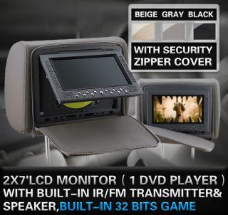 DIGITAL AUTOMOBILE CAR HEADREST DVD PLAYER & MONITOR MP4  DVD SVCD