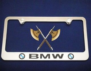BMW CHROME METAL LICENSE PLATE FRAME+FREE 2 CAPS