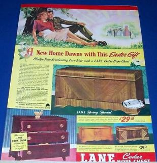 1942 Lane Cedar Hope Chest Easter Gift GI/girl Ad