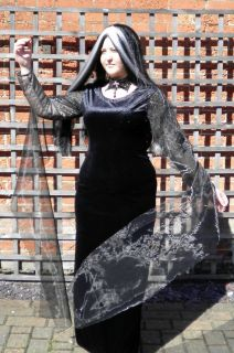 Morticia Addams Family Halloween Fancy Dress Costume L 16 18 UK P6783