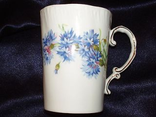 ROYAL ADDERLEY CORNFLOWER MUG BLUE FLOWERS GOLD TRIM PLAIN H487