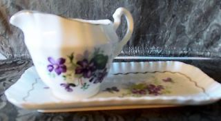 Adderley Fine Bone China England Violets Pattern Cream Pitcher