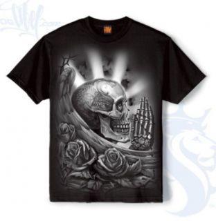 Mens Pray Skull Shirt Tattooed Angel Roses OG Abel L XXXL New