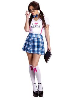 Womens Nerd Costume Geek Nerdy Outfit Sexy School Girl S Small M