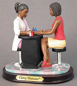 African American Figurine Hair Beauty Salon Jazzin Up the Nails