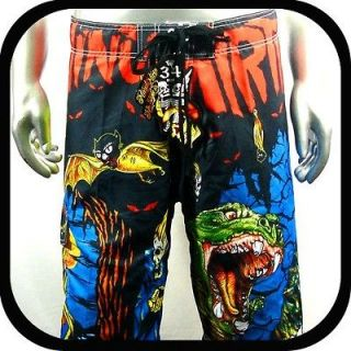 Minute Mirth Shorts Trunks Board Tattoo Surf K8 Sz 36 Skate Swim Rock