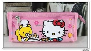 Girls Kids Cute Hello Kitty Sweet Pink Durable Fabric Pencil Box Case