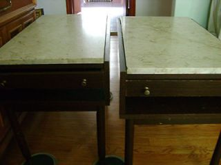 Antique Marble Top End Tables Furniture Made in Italy stamped MDC