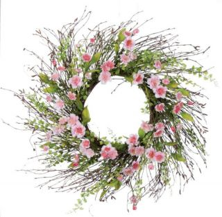 Pair 24 Artificial Light Pink Cherry Blossom Wreath