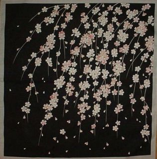 Small Size Weeping Cherry Tree Furoshiki Cotton Japanese Fabric