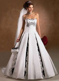 2012 white and ( 395 satin) black Bride wedding dress Gown Embroider