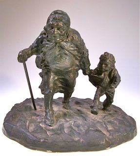AUSTIN PROD. SCULPTURE GRANDMOTHER & CHILD RUNNING SCHMID ? Signed
